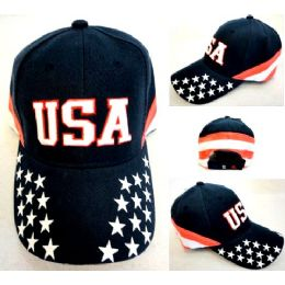 48 Units of Wholesale Adjustable Baseball Hat USA with Stars and Stripes - Hats With Sayings