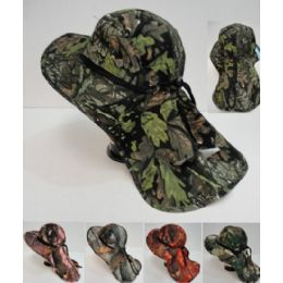 24 Units of Wholesale Camo Summer Hunting Fishing Hat with Neck Cover - Hats With Sayings