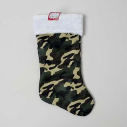48 Units of Stocking Camouflage 19in W/plush White Cuff Deluxe - Christmas Stocking