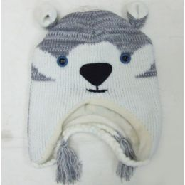 48 Units of Husky Fox Knit Hat - Winter Animal Hats