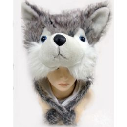 24 Units of Animal HaT-Fur Fox Husky - Winter Animal Hats