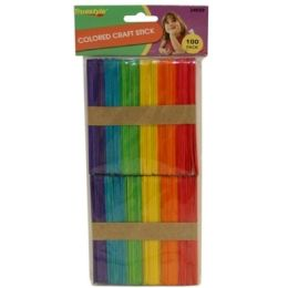 96 Units of 100PC COLORED CRAFT STICKS(size:114*10*2 - Craft Wood Sticks and Dowels