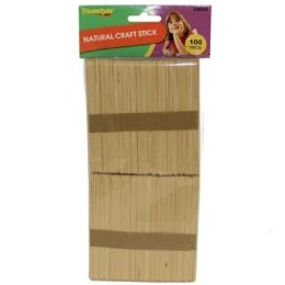 96 Units of 100PC NATURAL CRAFT STICKS (size:114*10* - Craft Wood Sticks and Dowels