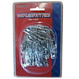 96 Units of 100pc Safety Pins In Double Clam Shell - Sewing Supplies