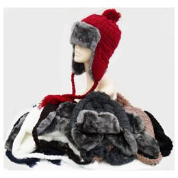 48 Units of Knit Bomber Hat - Trapper Hats
