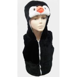 24 Units of Penquin Kid's Vest W.hood - Winter Animal Hats