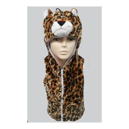24 Units of Leopard Kid's Vest W.hood - Winter Animal Hats