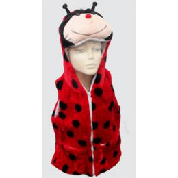 24 Units of Lady Bug Kid's Vest W.hood - Winter Animal Hats