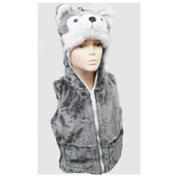 24 Units of Fox Kid's Vest W.hood - Winter Animal Hats