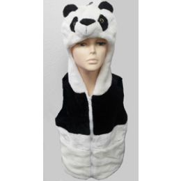 24 Units of Panda Kid's Vest W.hood - Winter Animal Hats