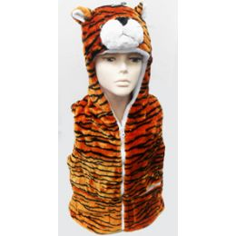24 Units of Tiger Kid's Vest W.hood - Winter Animal Hats