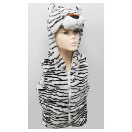 24 Units of White Tiger Kid's Vest W.hood - Winter Animal Hats
