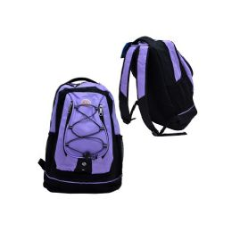 "24 Units of 18"" Backpack Black With Purple - Backpacks 18"" or Larger"