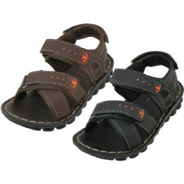 24 Units of Boy's Pu.leather Upper Sandals - Boys Flip Flops & Sandals
