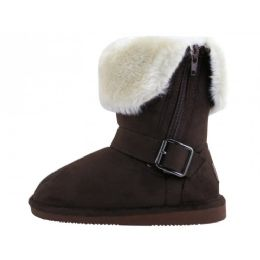 24 Units of Youth's Micro Suede Foldover Boots With Faux Fur Lining And Side Zipper - Girls Boots
