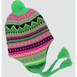 36 Units of Neon Ski Cap With Ear Flaps - Winter Helmet Hats