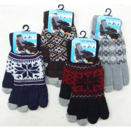 36 Units of Men's Touch Screen Gloves-Pattern - Conductive Texting Gloves