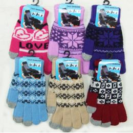 36 Units of Ladies' Touch Screen Gloves-Pattern - Conductive Texting Gloves