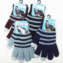 48 Units of Men's Touch Screen Gloves-Stripes - Conductive Texting Gloves