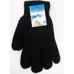 72 Units of Large Magic Gloves In Black Heavy knit - Knitted Stretch Gloves