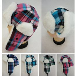 24 Units of Kid's Bomber Hat with Plush Lining [Plaid] - Junior / Kids Winter Hats