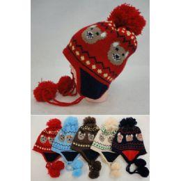 24 Units of Kid's Fleece-Lined Knit Cap with Ear Flap & PomPom [Bear] - Junior / Kids Winter Hats