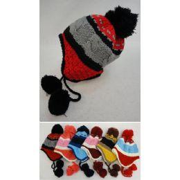36 Units of Kid's Fleece-Lined Knit Cap with Ear Flap & PomPom [TriColor] - Junior / Kids Winter Hats