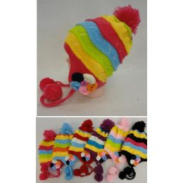71c71bdd35a 24 Units of Girl s Fleece-Lined Knit Cap with Ear Flap and PomPom  Flowers   - Junior   Kids Winter Hats - at - alltimetrading.com