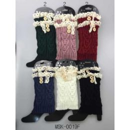 36 Units of Wholesale Knitted Lace Trim Boot Toppers Leg Warmers - Arm & Leg Warmers