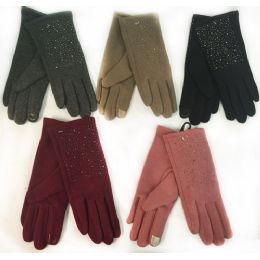 36 Units of Wholesale Winter Touch Gloves Rhinestone with Fleece Lining - Conductive Texting Gloves