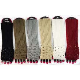 36 Units of Wholesale Long Rhinestone Knitted Fingerless Texting Gloves - Arm & Leg Warmers
