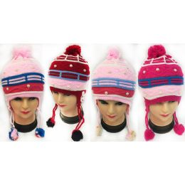 36 Units of Wholesale Knitted Girls Winter Hats - Junior / Kids Winter Hats