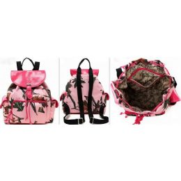 """6 Units of Cowgirl Trendy Pink Camo Backpack One Piece Height: 11.5"""" Width: 12"""" Depth: 5.75"""" - Backpacks"""