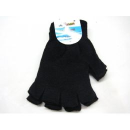 96 Units of All Black Finger-less Glove - Knitted Stretch Gloves