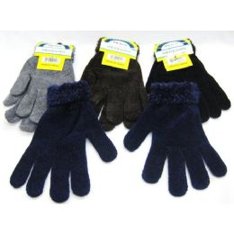 96 Units of Womens Assorted Color Fluffy Glove - Knitted Stretch Gloves