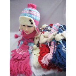 48 Units of Kids 3 Piece Winter Set - Hat Glove Scarf - Junior Kids Winter Wear