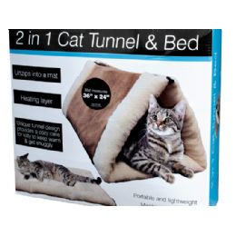 6 Units of 2 In 1 Cat Tunnel & Bed With Heating Layer - Pet Toys