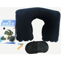 50 Units of 3pc. Travel Set w/ Inflatable Pillow, Sleep Mask, and Earplugs - Pillows