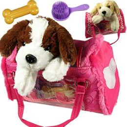 12 Units of Plush Puppies In Travleing Bags. - Animals & Reptiles
