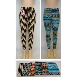 72 Units of Ladies Fashion Stretch Leggings [assorted Prints] - Womens Leggings