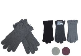 72 Units of Women's Fashion Knitted Cotton Glove - Knitted Stretch Gloves