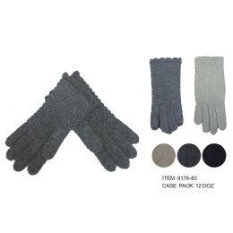 72 Units of Women's Fashion Thick Knitted Cotton Gloves - Knitted Stretch Gloves