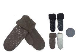 72 Units of Women's Fashion Rhinestone Thick Cotton Glove Mitten - Knitted Stretch Gloves
