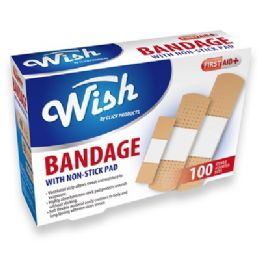 48 Units of 100pk Bandage with Non-Stick Pad - Bandages and Support Wraps