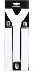 48 Units of Adult White Suspender ( 1.5 Inch Wide) - Suspenders
