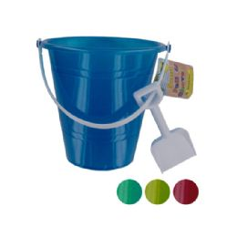 72 Units of Glitter Sand Pail with Shovel - Beach Toys
