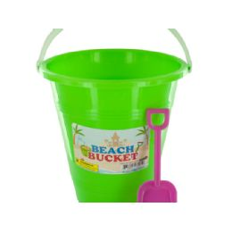 36 Units of Beach Bucket with Attached Shovel - Beach Toys