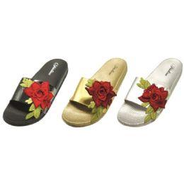 36 Units of Women's Flower Design Slip On Slipper - Women's Flip Flops