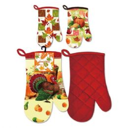 "48 Units of 12"" Harvest Oven Mittens - Halloween & Thanksgiving"