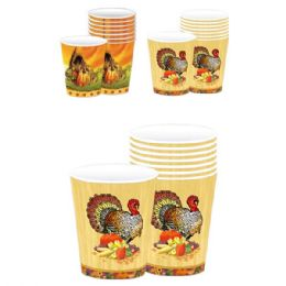 72 Units of Thanksgiving 8ct/9oz paper cup - Halloween & Thanksgiving